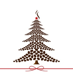 Christmas tree design from coffee beans vector image