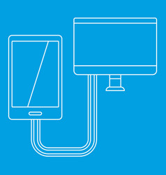 Connection phone icon outline style vector