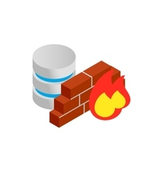 Database and firewall with chart icon vector image vector image