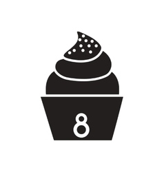 Flat icon in black and white cupcake vector