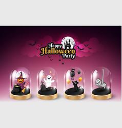 Halloween character element design in glass dome vector
