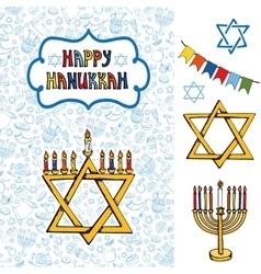Hanukkah greeting cardDoodle Jewish Holiday vector image
