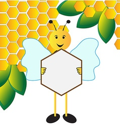 Happy bee holding sign board vector image vector image