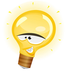 happy light bulb character vector image vector image