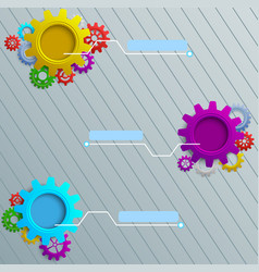 Infographics with colorful gears on the grey woode vector