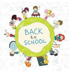 Kids school emblem sketch poster vector