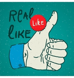LikeThumbs Up symbol hand drawn vector image vector image