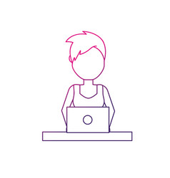 Line profesional businesswoman with laptop and vector
