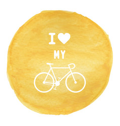 Love bicycle on yellow watercolor background1 vector