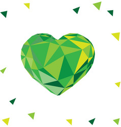 Low poly crystal bright green heart vector