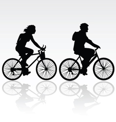 Man and woman riding a bicycle vector