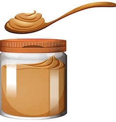 Peanut butter in plastic jar vector