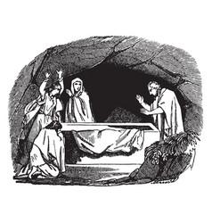 Peter finds the tomb of jesus empty vintage vector