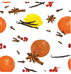 Seamless pattern with mandarin and spices vector