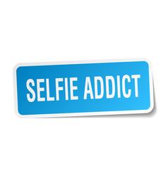 Selfie addict square sticker on white vector