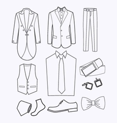 set of Fashion collection of man wardrobe vector image vector image