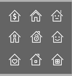 Set of white house and home icon vector