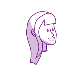 silhouette happy cute woman face with hairstyle vector image