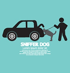 Sniffer Dog Smell At Cars Trunk vector image vector image