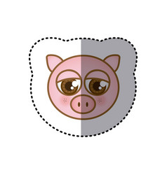 Sticker colorful picture face of pig with big eyes vector