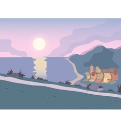 Sunset road background vector