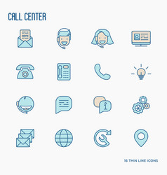 Support service thin line icons set vector