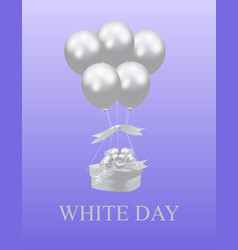 white day gift in a box in the shape of a heart vector image