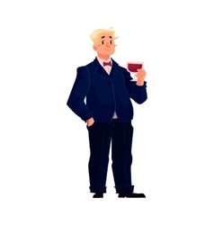 Happy fat man in business suit with glass of wine vector