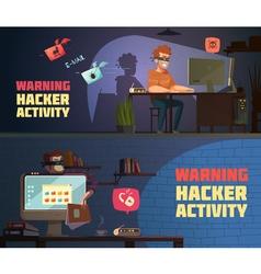 Warning hacker activity 2 horizontal banners vector