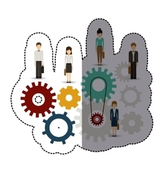 Isolated gear businesspeople design vector