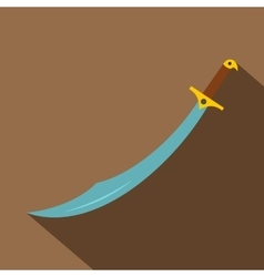 Arabian scimitar sword icon flat style vector