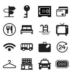 Hotel hostel icons set vector