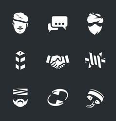 Set of fight against terrorism icons vector