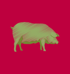 flat shading style icon pig vector image