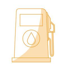 Orange silhouette shading fuel dispenser machine vector