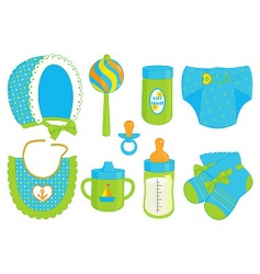 Baby boy accessories vector
