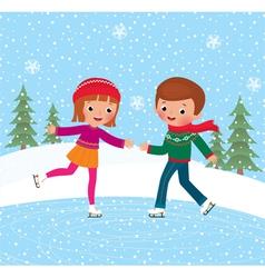 Children ice skate vector image