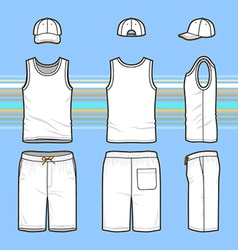 Mens t-shirt cap and swim shorts set vector