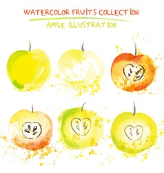 Watercolor apple set vector