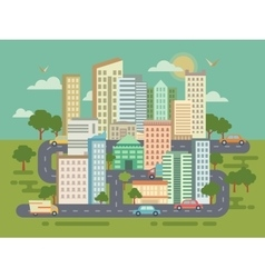 City landscape with buildings cars and roads vector