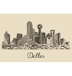 Dallas skyline hand drawn vector