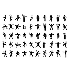 50 stick figure set vector