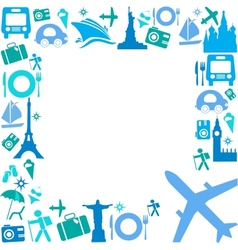 frame with travel icons vector image
