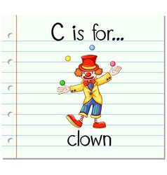 Flashcard letter c is for clown vector