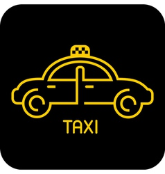 Taxi icon on black vector