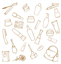 Set of cosmetics and toiletries vector