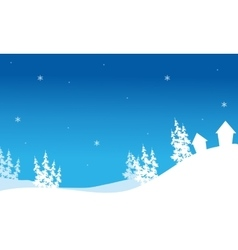 Silhouette of christmas house in hills vector