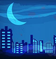 Artistic watercolor night city vector