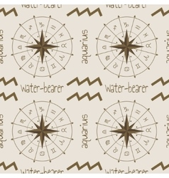 Astrology sign water bearer seamless pattern vector