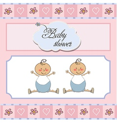baby twins shower card vector image vector image